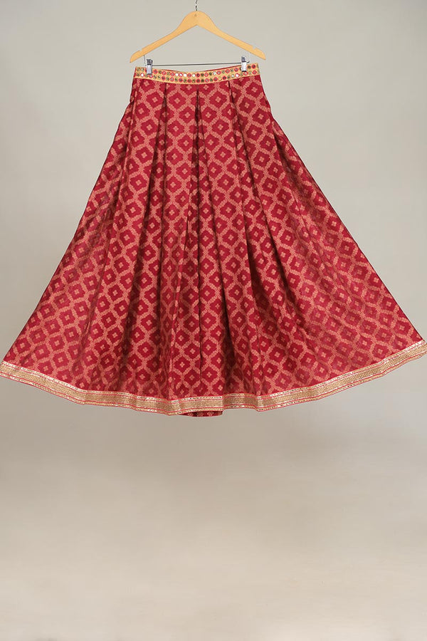 Shocking Pink Khaddi Banarsi Lengha With upcycled gota style lace finishings