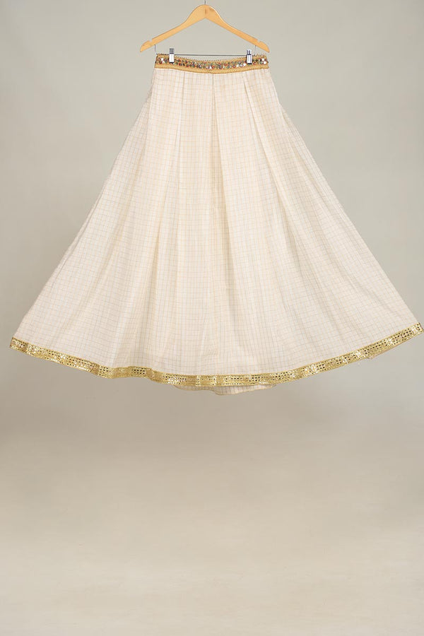 White Golden Shimmer Pattern Checkered Pattern Lengha With Upcycled Gota Style Lace Detail Finishing