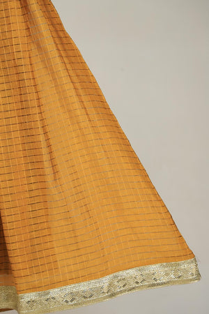 Mustard Golden Shimmer Pattern Checkered Pattern Lengha With Upcycled Gota Style Lace Detail Finishing