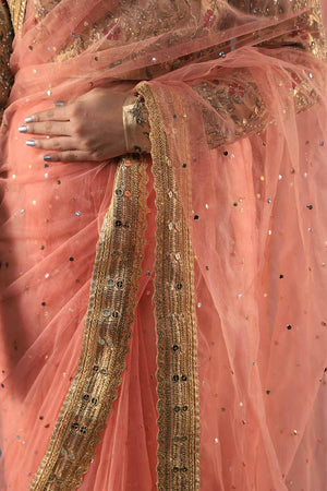 Pastel Pink Net Saari With Mukesh Details And Gota Style Border