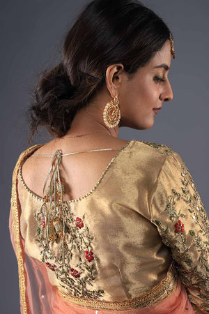 Gold Hand Embroidered Formal Lengha/Saari Blouse