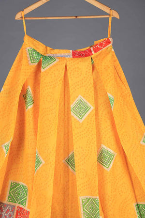Yellow block print indian silk lengha