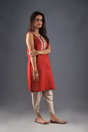 Red vintage cotton khaddi kurta
