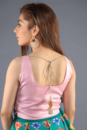 Pink Shimmer Silk Tulip Motif Thread And Handwork Sleeveless Blouse