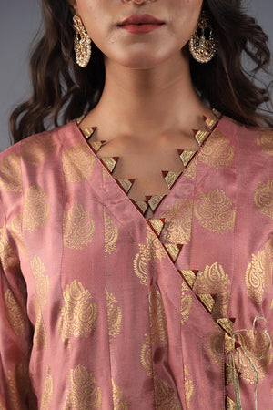Pastel Pink Cotton Silk  block print Angarka with Golden Gota Style Lace Finishing