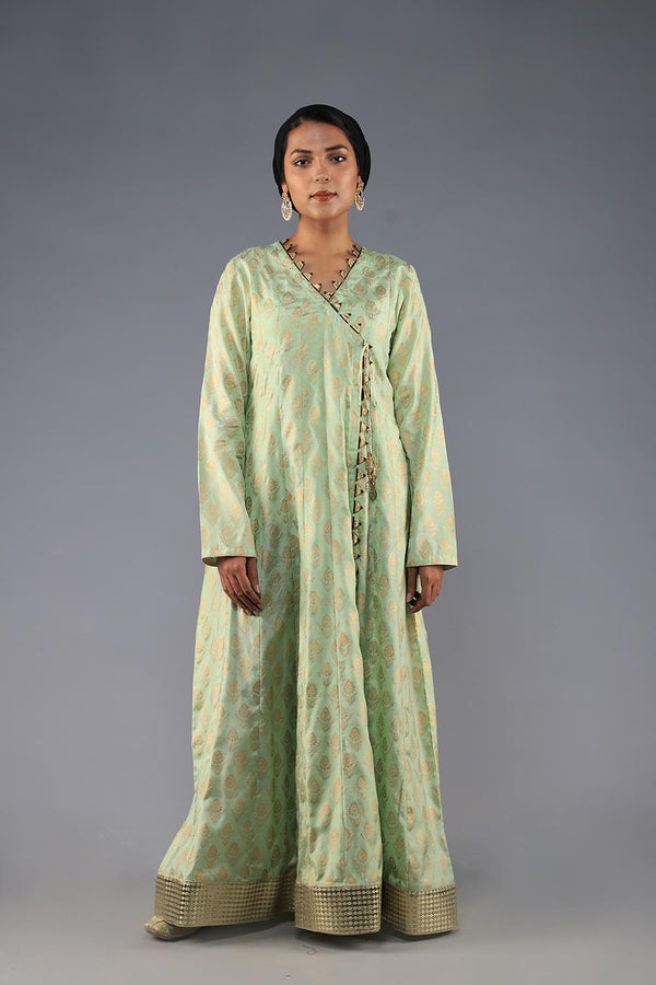 PASTEL GREEN COTTON SILK BLOCK PRINT ANGARKA WITH GOLDEN GOTA STYLE LACE FINISHING