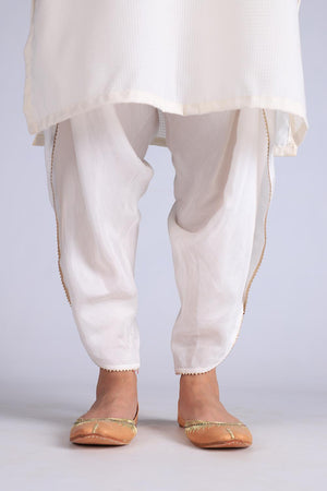 White Cotton Silk Tulip Shalwaar With Delicate Gota Style Finishing
