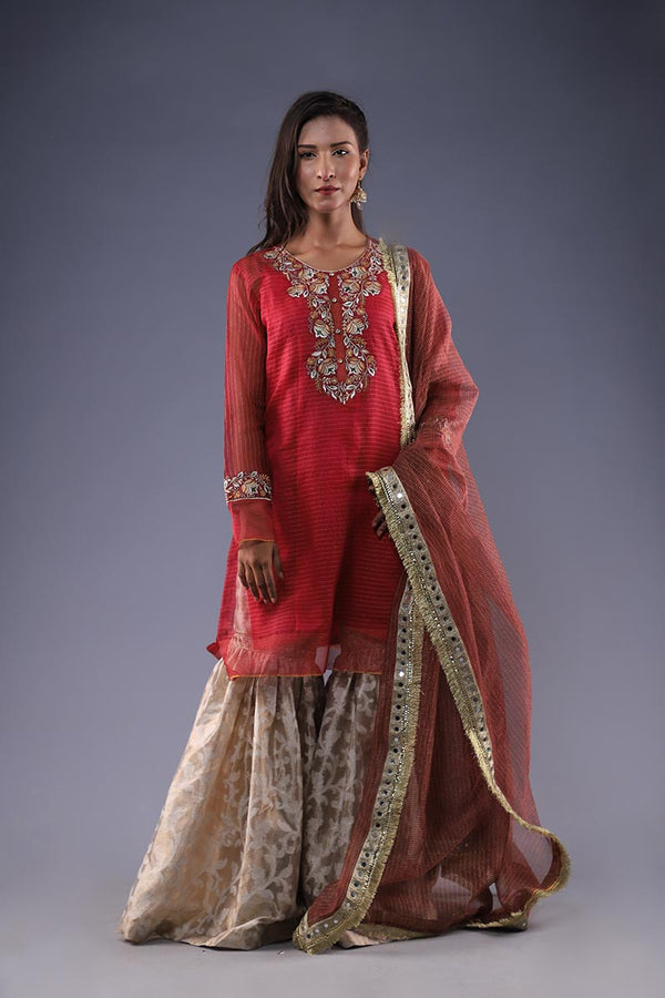 Red Organza Khaadi Embroidered Kurta