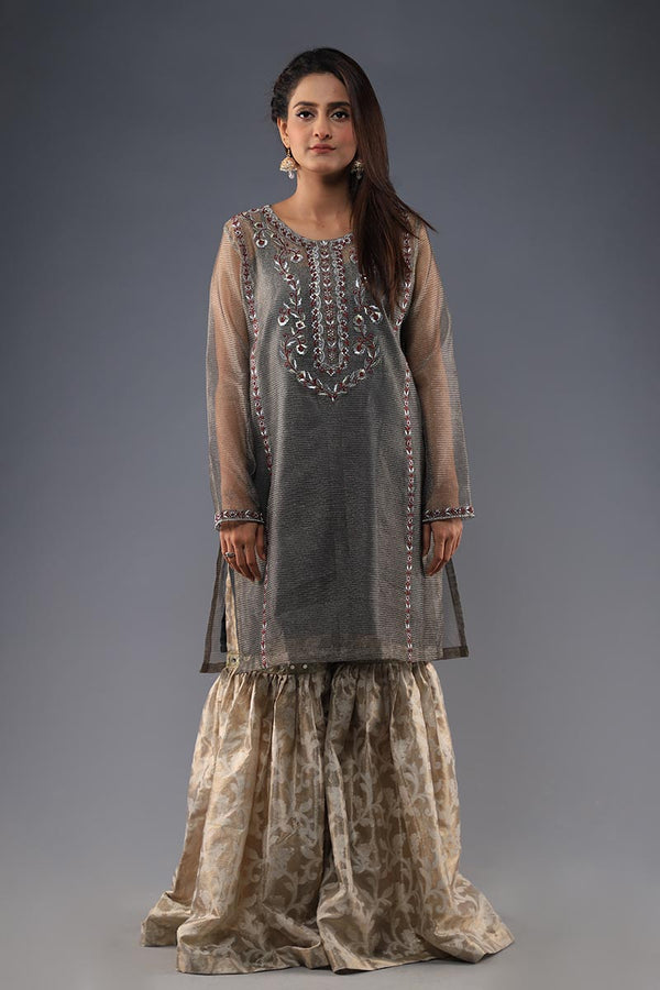 Grey organza khaadi embroided Kurta