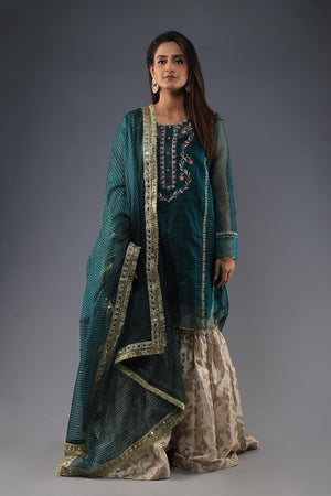 Green organza khaadi embroided Kurta with dupatta