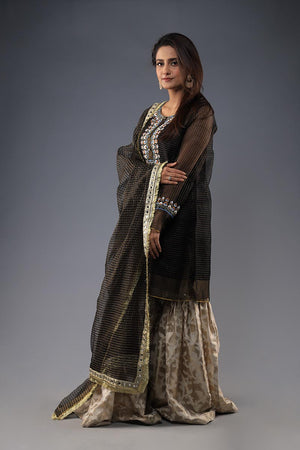 Black organza khaadi embroided Kurta with dupatta