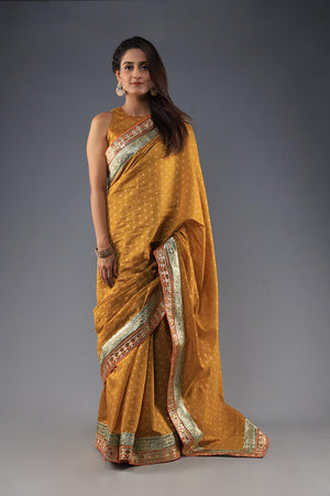 Mustard cotton net saari with blouse
