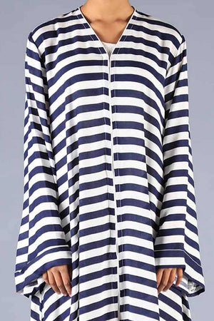 Navy Blue And White Striped Linen Abaya