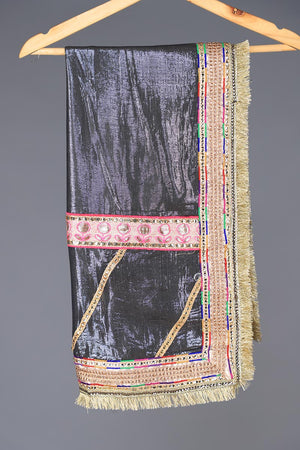 Dark Blue Shimmer Khaddi Silk Dupatta with Chatapatti Borders