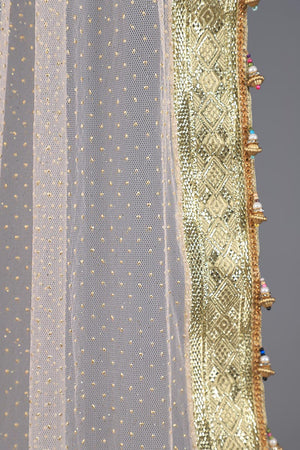 Soft Peach Self embossed net Dupatta with golden gota style border and multicoloured tassel details