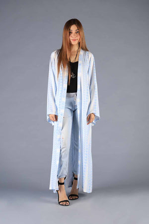 Blue and White Striped Tribal Print Cape