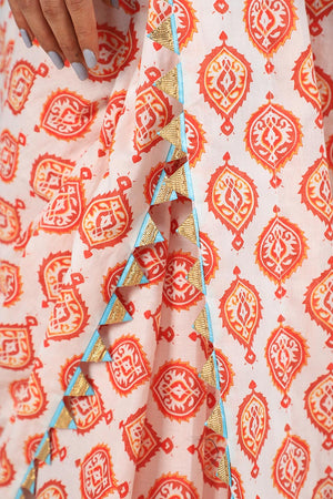 Orange and White Batik Print With Turquoise Gota Style Borders and Unstitched White Cotton Silk Blouse