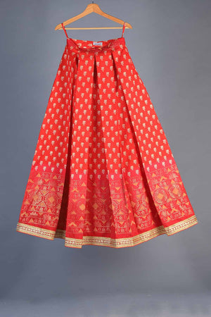 Shades of Red and Pink Block Print Style Indian Silk Lengha