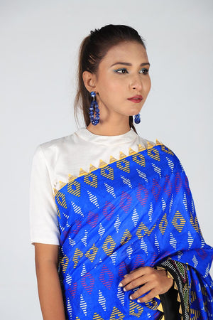 Blue and Multi Coloured Tribal Print With Neon Yellow Gota Style Borders and Unstitched White Cotton Silk Blouse