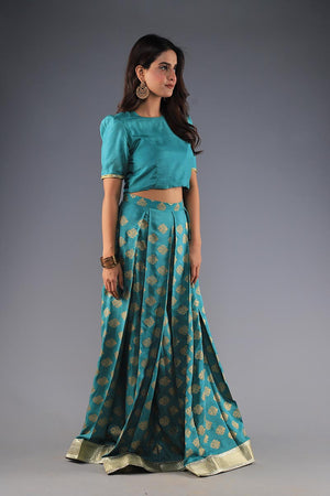 Jade Green and Gold Block Print Lengha with unstitched blouse and gota style border details