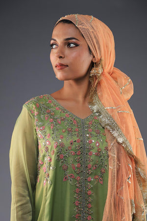 Green Net Peplum Formal Pret with Threadwork and Gota details