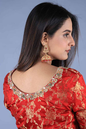 Red Banarsi embroided blouse