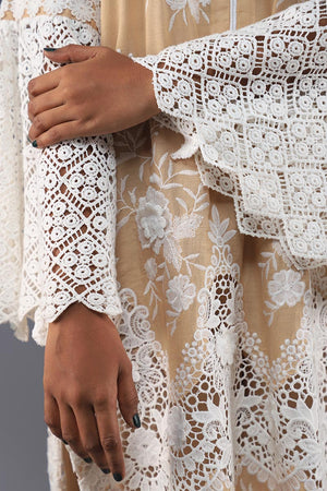 Rana's Creation Beige cotton Chikan lace kameez with boho lace sleeve detail
