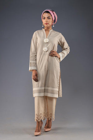 Rana's Creation Earthy beige Kurta with Statement Organza rosette Button details