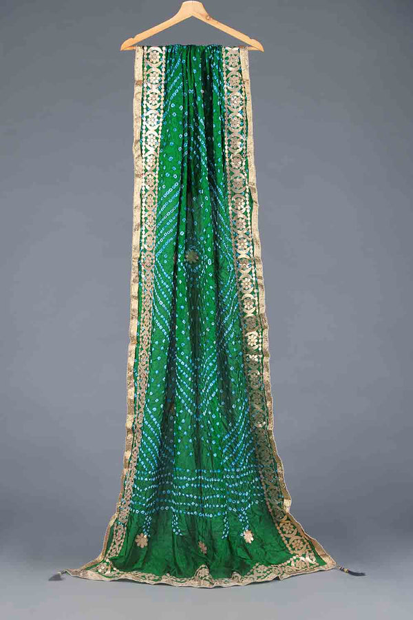 Emerald Green Chunri Silk Dupatta With Gota Work Details
