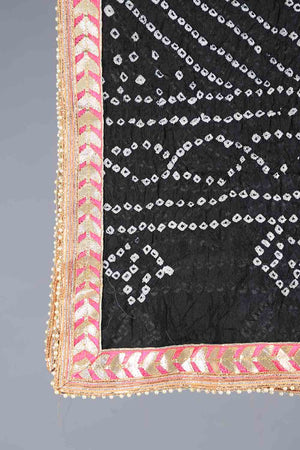 Black Chunri Silk Dupatta With Pink Gota Work Details