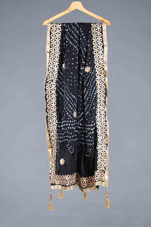 Black Chunri Silk Dupatta With Golden Gota Work Details