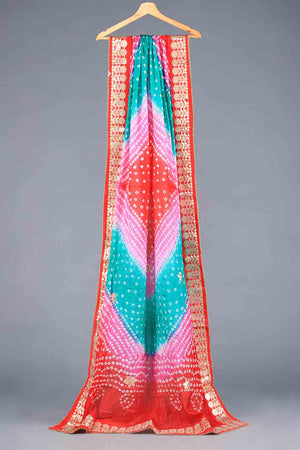 Red, Pink and Green Tie Dyed Shaded Chunri Silk Dupatta With Gota Work Details