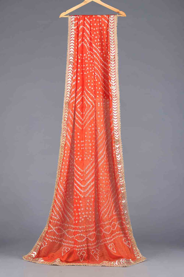 Orange Chunri Silk Dupatta With Golden Gota Work Details