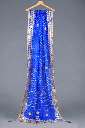 Blue Chunri Silk Dupatta With Golden Gota Work Details