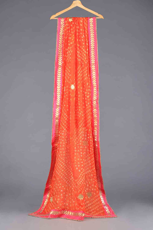 Orange Chunri Silk Dupatta With Pink Gota Work Details