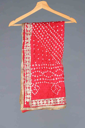 Red Chunri Silk Dupatta With Golden Gota Work Details
