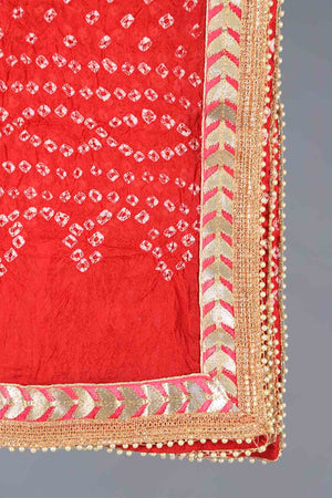 Red Chunri Silk Dupatta With Pink Gota Work Details