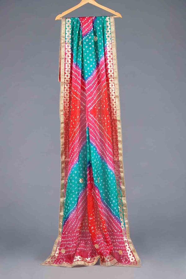 Red, Pink and Aqua Blue Tie Dyed Shaded Chunri Silk Dupatta With Gota Work Details