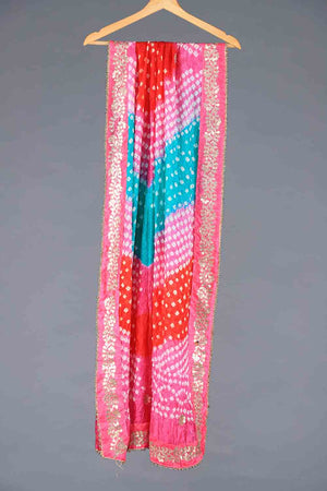 Pink, Orange and Aqua Blue Tie Dyed Shaded Chunri Silk Dupatta With Gota Work Details