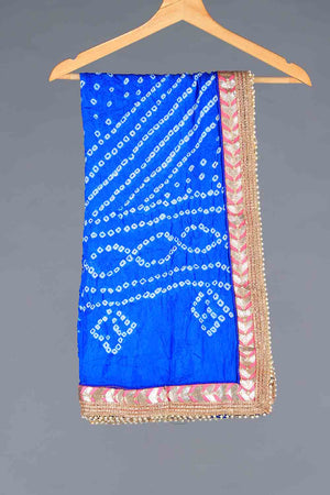 Blue Chunri Silk Dupatta With Pink Gota Work Details