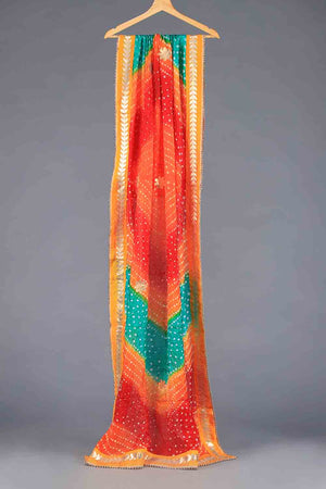 Orange, Red and Aqua Blue Tie Dyed Shaded Chunri Silk Dupatta With Gota Work Details