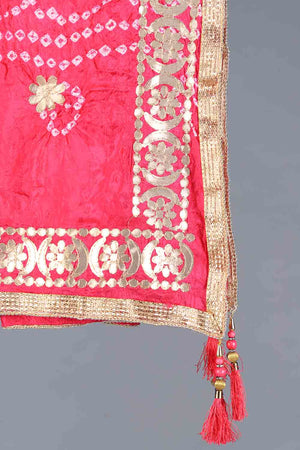 Pink Chunri Silk Dupatta With Gota and tassle Work Details