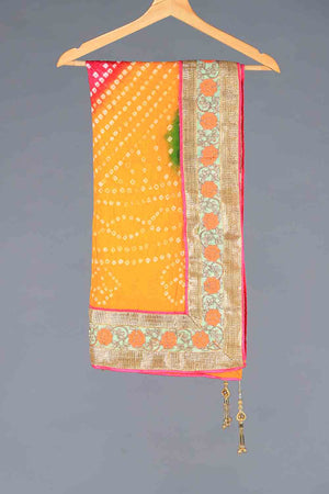 YELLOW, PINK AND GREEN TIE DYED SHADED CHUNRI SILK DUPATTA WITH GOTA AND TASSLE BORDER DETAILS