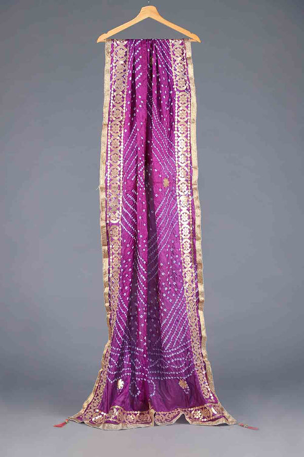 PURPLE CHUNRI SILK DUPATTA WITH GOTA WORK DETAILS
