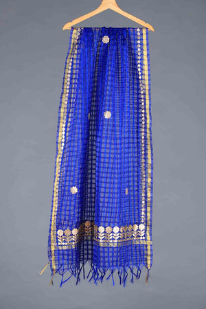 Blue Handloom checkered style organza Gota Detail Dupatta