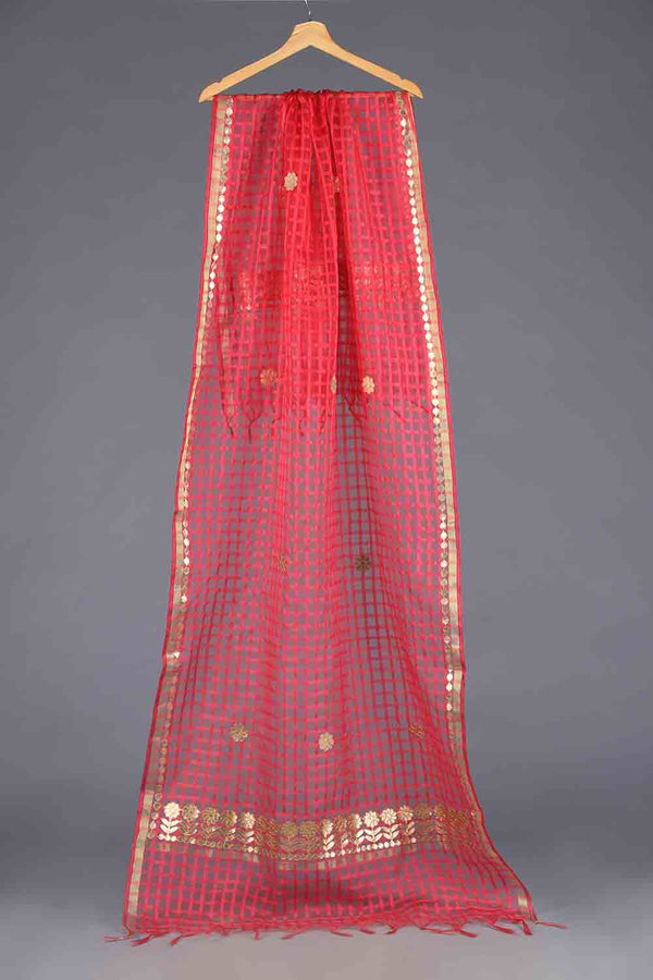 Pink Handloom checkered style organza Gota Detail Dupatta