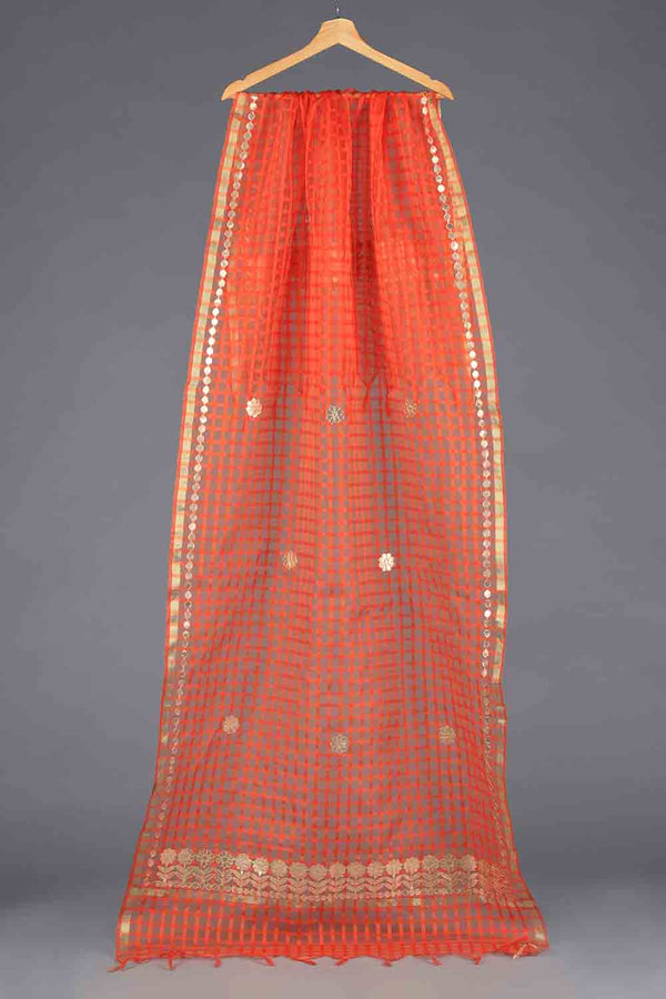 Orange Handloom checkered style organza Gota Detail Dupatta