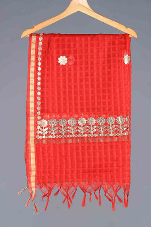 RED HANDLOOM CHECKERED STYLE ORGANZA GOTA DETAIL DUPATTA