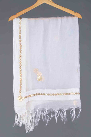 WHITE ORGANZA AND GOTA FLORAL MOTIF BORDER DETAIL DUPATTA