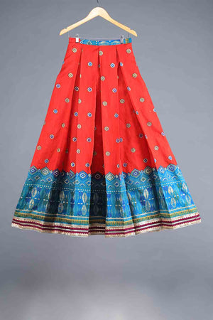 Red and Blue Block Print Style Indian Silk Lengha